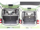 分割可倒式シートで大きな荷物も積むことができます。