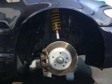KW製ステンレスケースの車高調に交換。ディクセルのローターとパットを取り付けしました。ブレーキ関係も安心です。